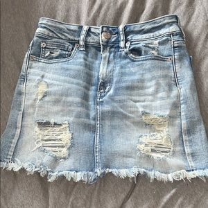American Eagle Light Blue Distressed Skirt